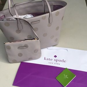 NWOT Kate Spade Haven Grey Glitter Dot Tote